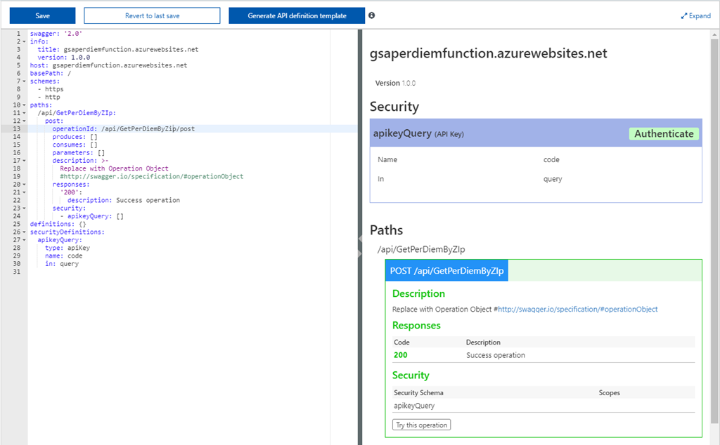 Configuring Swagger Definition for your Azure Functions