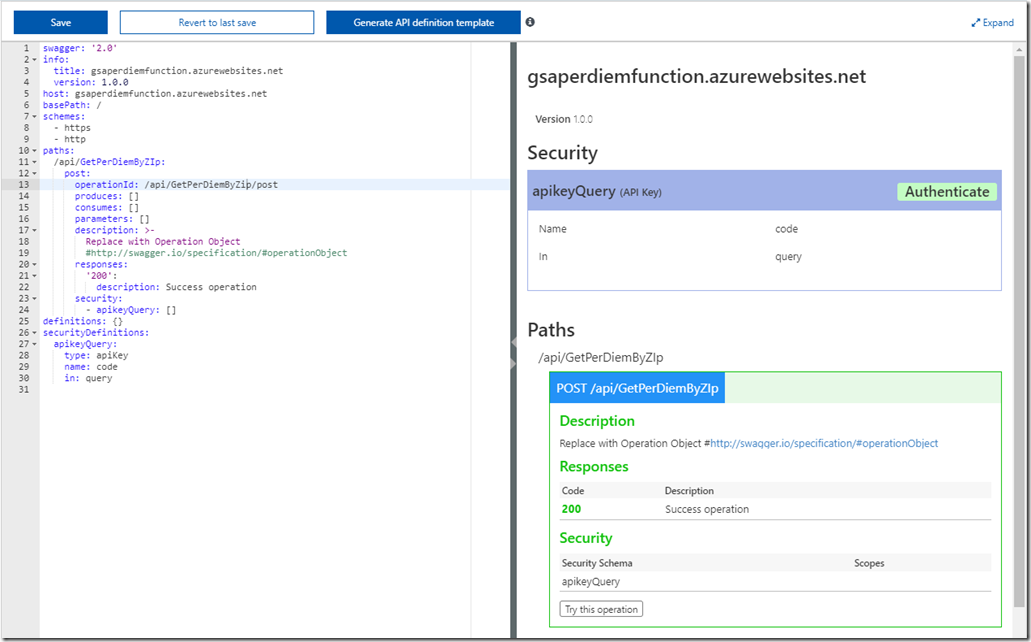 Configuring Swagger Definition for your Azure Functions (Part 3 of 4